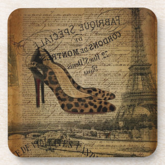 girly Schuhe Paris-Eiffelturm Fashionista Getränkeuntersetzer