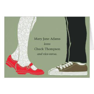 Girly Schuhe u. Turnschuh-illustrierte Hochzeit Karte