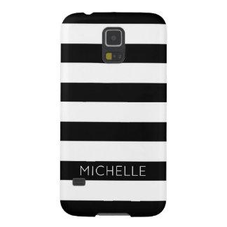 Girly Schwarz-weißes Streifen-Name-Monogramm Samsung Galaxy S5 Hüllen