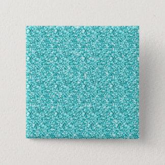 Girly, Spaß-Aqua-blauer Glitzer gedruckt Quadratischer Button 5,1 Cm