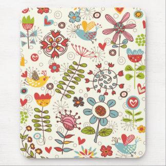 Girly Spaß-Vögel und Blumen Mousepad