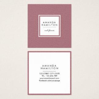 Girly stilvolles Mode ROSEN-GOLD + weißes Quadrat Quadratische Visitenkarte