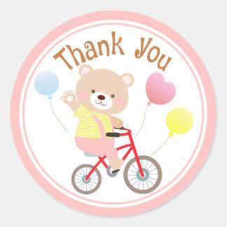 Girly Teddybär betreffen Fahrrad danken Ihnen Runder Aufkleber
