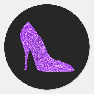 Girly violettes Glitter-hohe Fersen-Schwarzes Runder Aufkleber