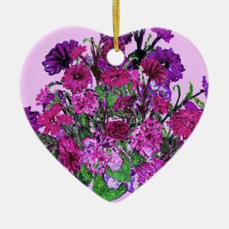 Girly weiche hübsche lila Blumen-Verzierungen der Keramik Herz-Ornament