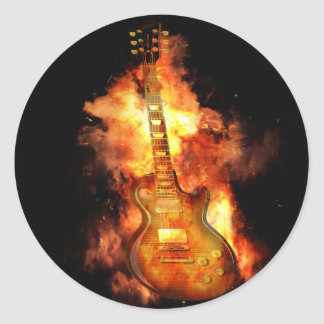Gitarre auf Feuer Runder Aufkleber