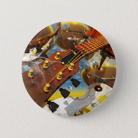 Gitarre durch Lenny Kunst Runder Button 5,7 Cm