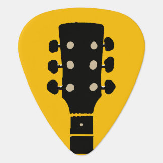Gitarrehals auf gelbem Felsen Plektrum