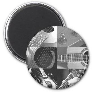 Gitarren-Fotografie-Collage - Schwarzweiss Runder Magnet 5,1 Cm
