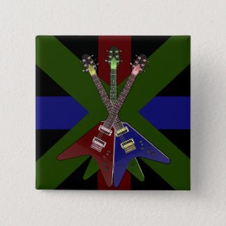 Gitarren-Reißwolf des Fliegen-V Quadratischer Button 5,1 Cm