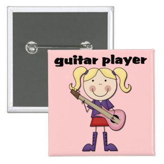 Gitarrist-weibliche T-Shirts und Geschenke Quadratischer Button 5,1 Cm