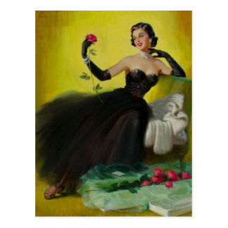 Glamorous Pin-Up with Roses Postkarte