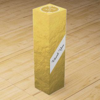 Glamour-Goldfolien-Hintergrund-Monogramm Wein-Geschenkverpackung