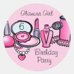 Glamour-Mädchen-Geburtstag Stickers
