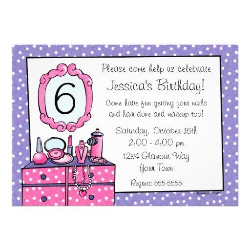 Glamour-Mädchen-Geburtstags-Party Einladung