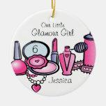 Glamour-Mädchen-Geburtstags-personalisierte Verzie Weihnachtsbaum Ornament