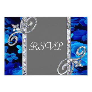 Glänzende blaue Rosen u. Diamant-Wirbel, der CST2 Karte