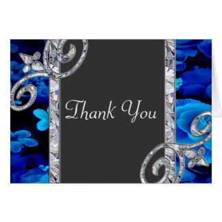 Glänzende blaue Rosen u. Diamant-Wirbel, der CSTM Karte