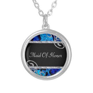 Glänzende blaue Rosen u. Wedding Diamant-Wirbel Versilberte Kette