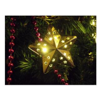 Glänzende Feiertags-Stern-Weihnachtslichter Postkarte