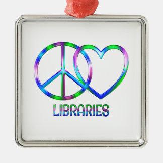 Glänzende FriedensLiebe-Bibliotheken Silbernes Ornament