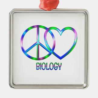 Glänzende FriedensLiebe-Biologie Silbernes Ornament