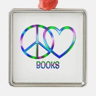 Glänzende FriedensLiebe-Bücher Silbernes Ornament