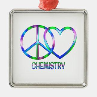 Glänzende FriedensLiebe-Chemie Silbernes Ornament