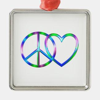 Glänzende FriedensLiebe Silbernes Ornament
