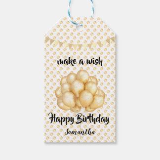 Glänzende goldene Ballone u. Punkte, machen einen Geschenkanhänger