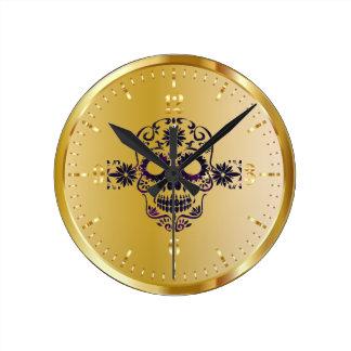 Glänzende Imitat-Goldzuckerschädel-Uhr Runde Wanduhr