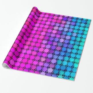Glänzende Regenbogen-Sterne Geschenkpapier
