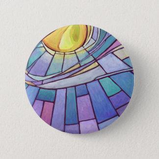 Glänzender Himmel BuntglasSun Runder Button 5,7 Cm