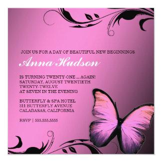 Glänzender Rosa-Schellfisch des Schmetterlings-311 Quadratische 13,3 Cm Einladungskarte