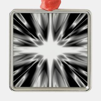 Glänzender Schwarzweiss-Stern Silbernes Ornament