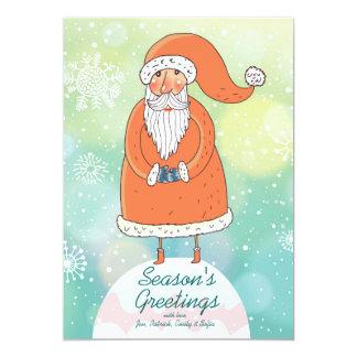 Glänzender Weihnachtshintergrund mit lustigem 12,7 X 17,8 Cm Einladungskarte