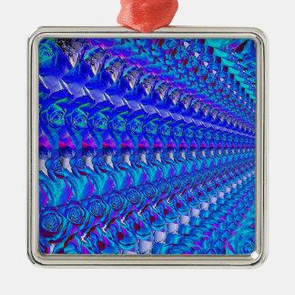 Glänzendes blaues Rosen-Muster Silbernes Ornament