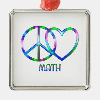 Glänzendes FriedensLiebe-Mathe Silbernes Ornament