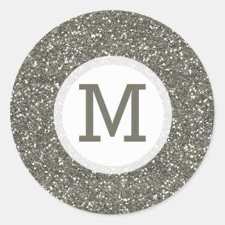 Glänzendes silbernes Glitter-Monogramm-Siegel Runder Aufkleber
