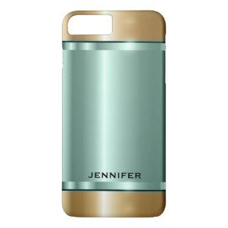 Glänzendes Weich-Grünes und Gold iPhone 8 Plus/7 Plus Hülle