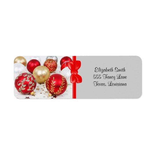 Glänzendes Weihnachten funkelte Verzierungen - Kleiner Adressaufkleber