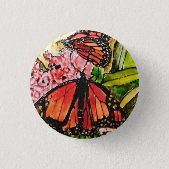 Glas gemalter Schmetterlingsknopf Runder Button 2,5 Cm
