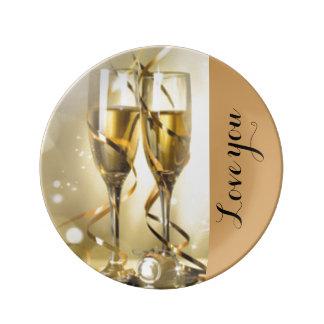 Glas-Typografie Goldtans Champagne Teller