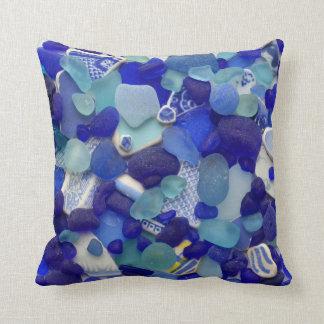 GlasFotoquadrat des blauen Türkisseeglasstrandes Kissen