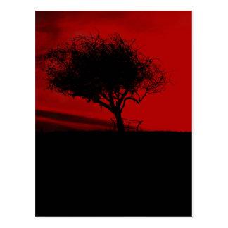 Glastonbury Weißdorn. Baum auf Hügel. Rot und Postkarte