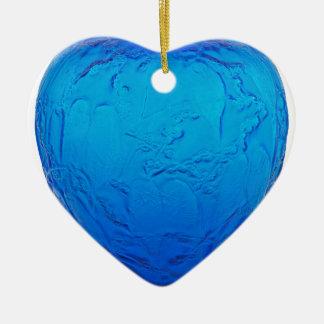 Glasvase des blauen Kunst-Dekos mit Vögeln Keramik Herz-Ornament