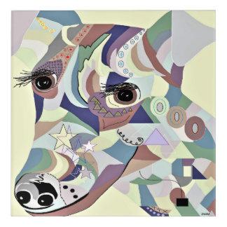 Glatte Foxterrier-Denim-Farben Acryl Wandkunst