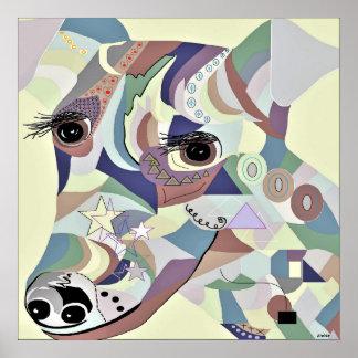 Glatte Foxterrier-Denim-Farben Poster