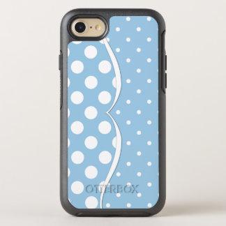 Glatte weiße Tupfen auf Pastellblau OtterBox Symmetry iPhone 7 Hülle