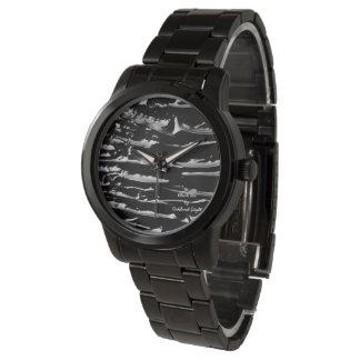 Glatteis-schwarze Band-Armband-Armbanduhr Armbanduhr